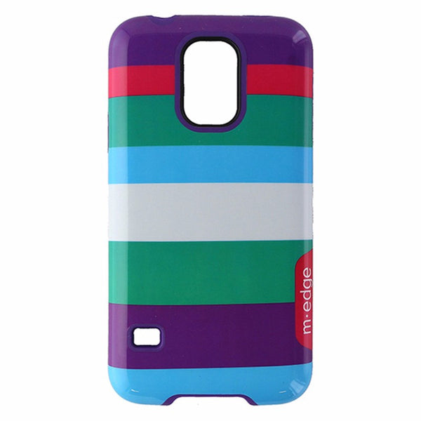 M-Edge Echo Hybrid Case for Samsung Galaxy S5 - Multi Color Stripes / Purple
