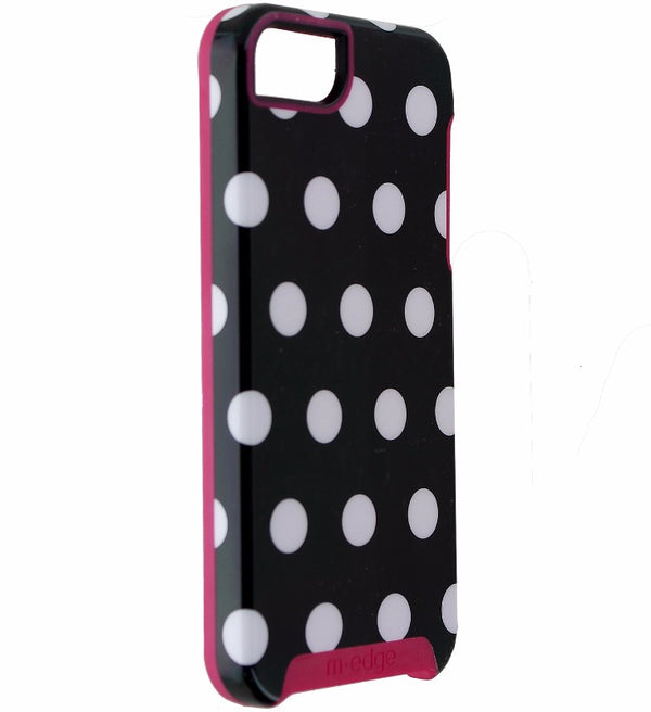 M-Edge Echo Hybrid Hard Case for Apple iPhone SE 5s 5 - Blk Wht Polka Dots/ Pink