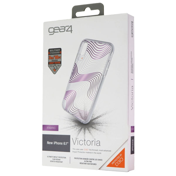 Gear4 Victoria Case for Apple iPhone XR - Clear / Purple Fabric Waves