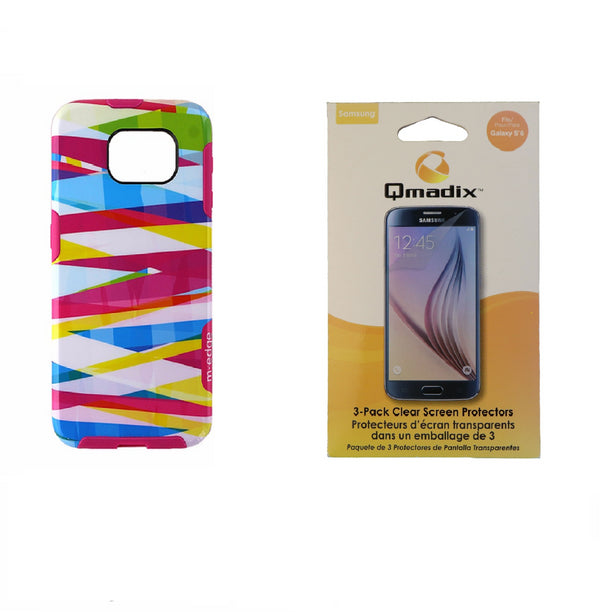 M-Edge Echo Multicolor Bands Case + Qmadix Screen Protector 3-Pack for Galaxy S6