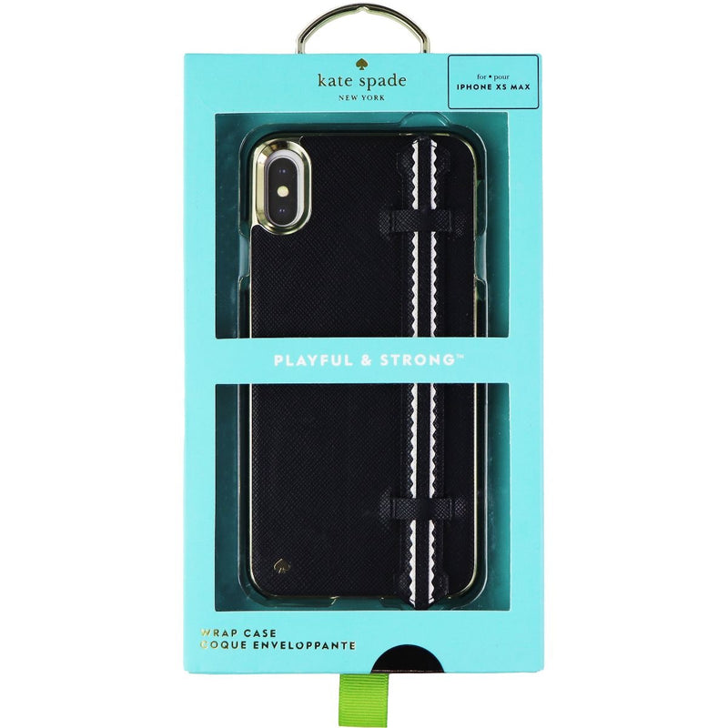 Kate Spade Wrap Strap Case for Apple iPhone Xs Max -  Black Saffiano/Gold