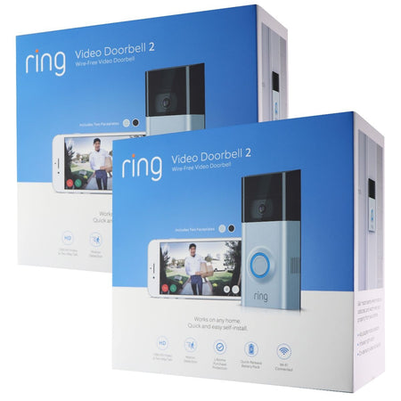 2x Ring Video Doorbell V2 Wire-Free Wi-Fi 1080p Video Doorbell (KIT of 2)