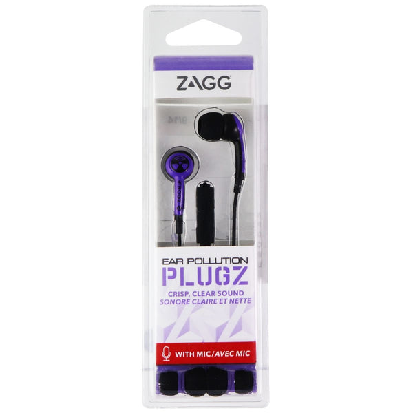 ZAGG Ear Pollution Plugz 3.5mm Wired Headphones with Mic - Purple/Black