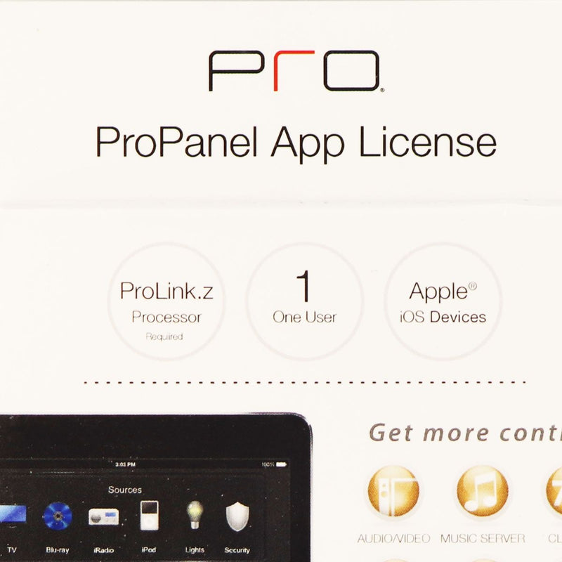 Pro Control ProPanel App License Apple iOS Devices Remote Home