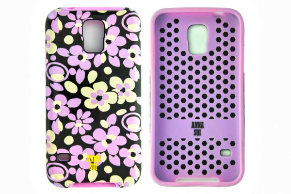 Anna Sui Flower Print Samsung Galaxy S5 Case Black and Purple