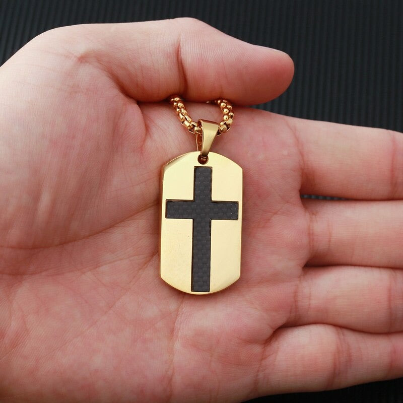 Stainless Steel Dog Tag Cross Chain
