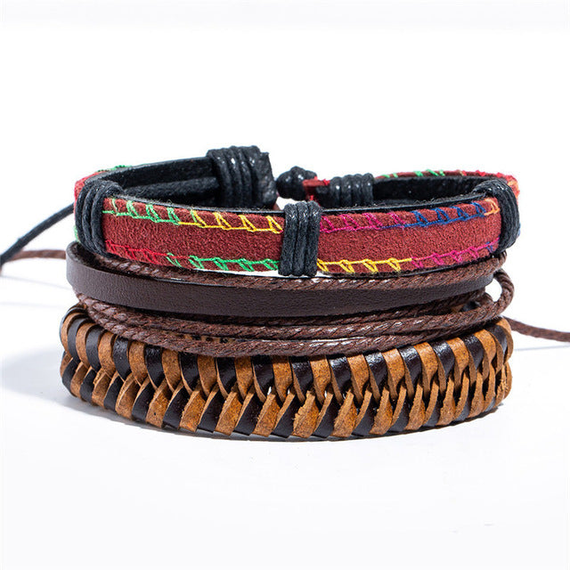 12 Style Men Leather Bracelets