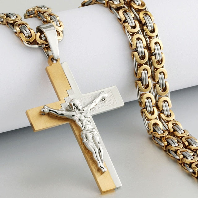 Heavy Crucifix Cross Pendant Necklace