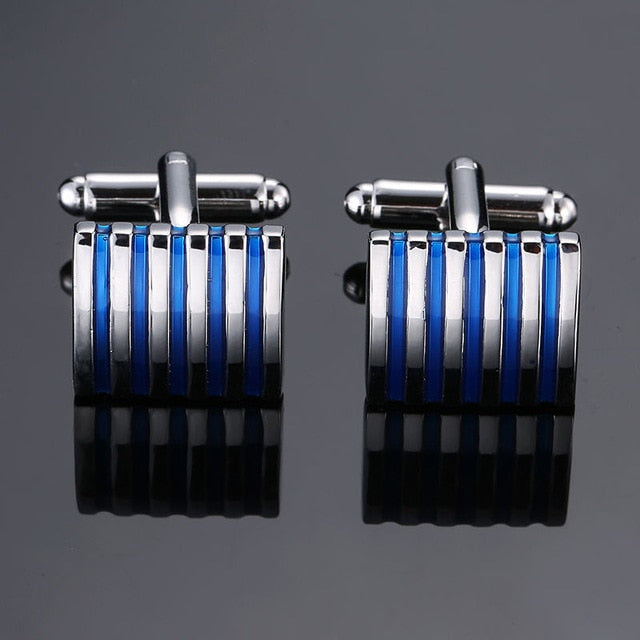 Enamel Square Stripes Flower Cufflinks