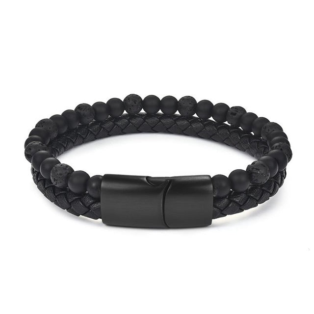 6MM Natural Stone Men Leather Bracelet