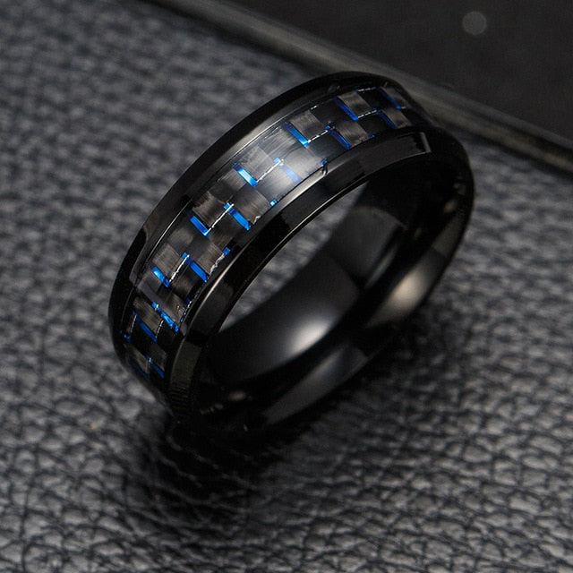 Titanium Steel Black Carbon Fiber Rings