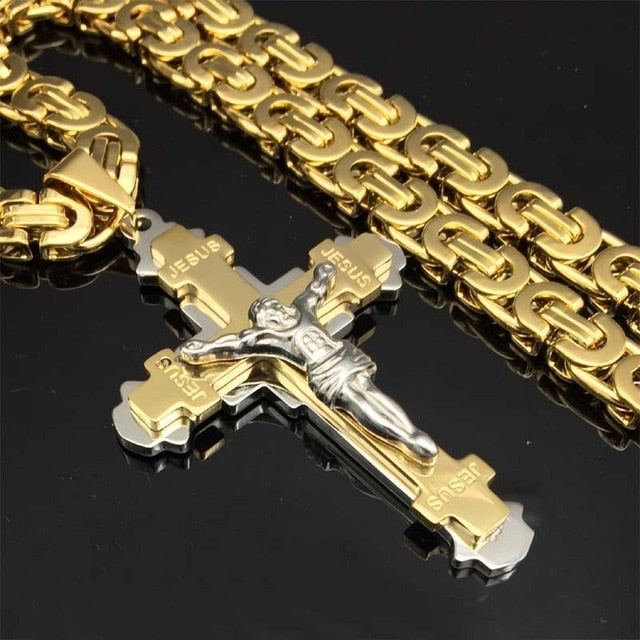 Heavy Crucifix Jesus Cross Chain