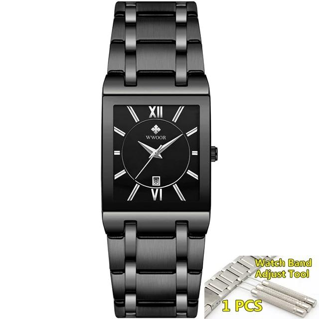 Gold Black Square Quartz Man's Watch