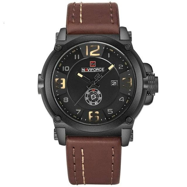 Men Leather Strap Quartz Wristwatch