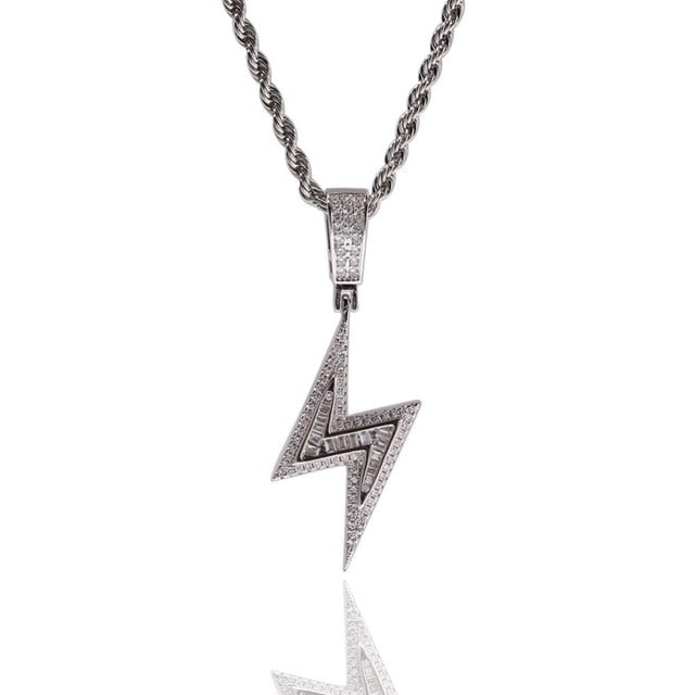 Iced Bolt Lightning Pendant Necklaces