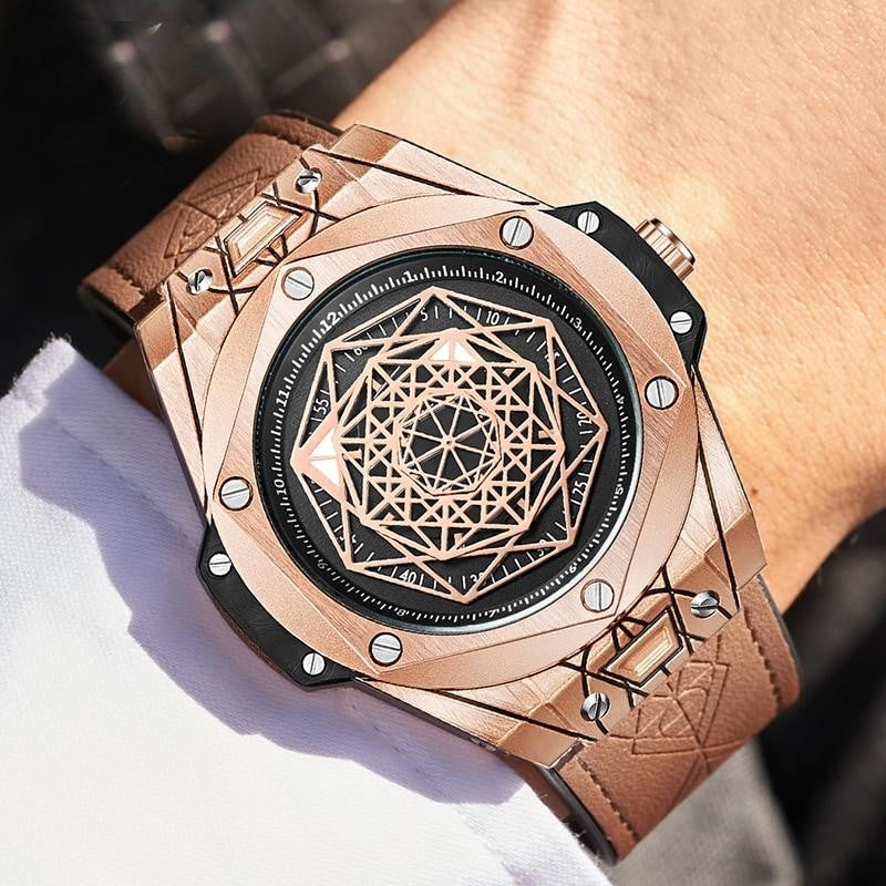 Leather Quartz Man Watch