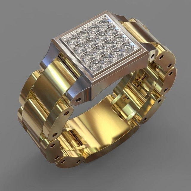 Men,s Gold Bling Bling Ring