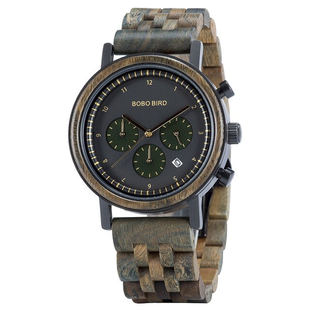 Men,s Wood Multi Function Wristwatches