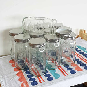Glass 1 Ltr Utility Jars with screw on metal lid, Boxes of 6 & 12
