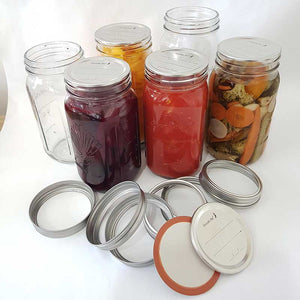 Glass 1 Ltr Preserving Jars with metal dome & band, Boxes of 6