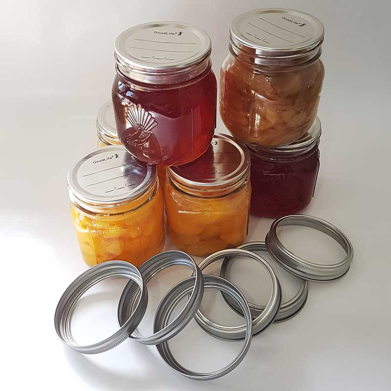 Glass 500ml Preserving Jars with metal dome & band, Boxes of 6