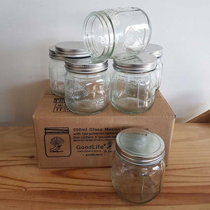 Glass 500ml Utility Jars with screw on metal lid, Boxes of 6 & 12