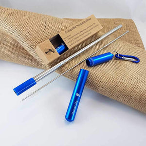 Straw Kit, Collapsible Reusable - Blue