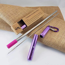 Load image into Gallery viewer, Straw Kit, Collapsible Reusable - Purple
