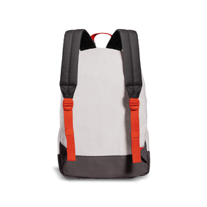black and white back of backpack