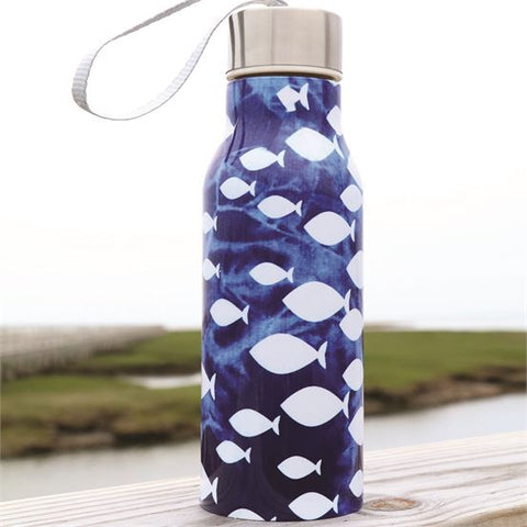 Batik Fish Print Stainless Water Bottle