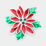 CHRISTMAS RED FLOWER PIN