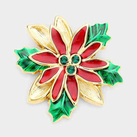 CHRISTMAS FLOWER GOLD PIN