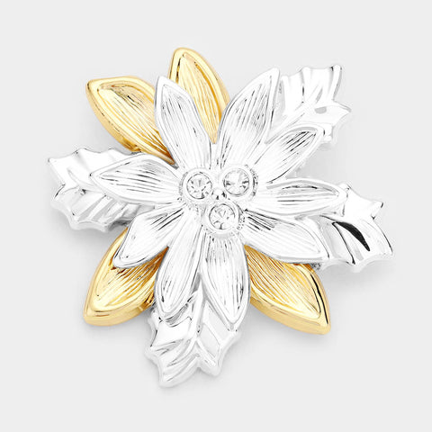 CHRISTMAS FLOWERS SILVER -GOLD PIN
