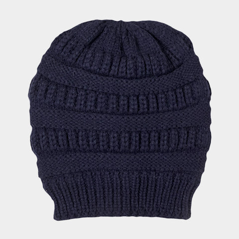 CABLE KNIT BEAN HAT NAVY