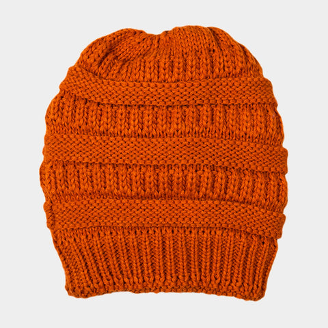 CABLE KNIT BEAN HAT ORANGE
