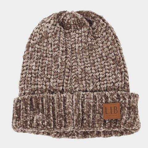 CHENILLE BEANIE HAT BROWN