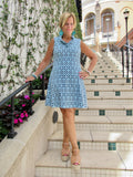 SERENA BLUE RUFFLE DRESS