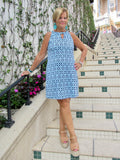 SERENA BLUE KEYHOLE DRESS