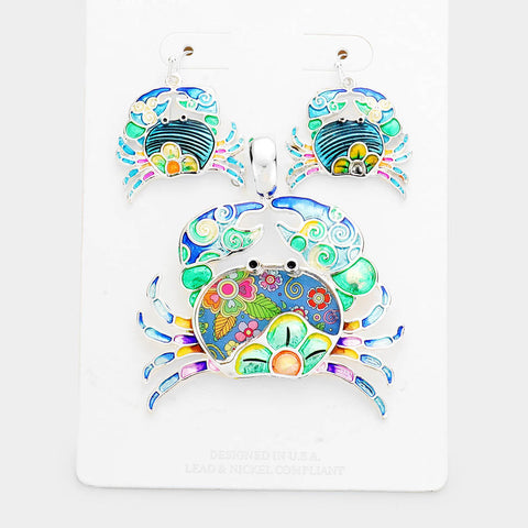 FLORAL PATTERN CRAB SET