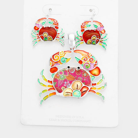 FLORAL RED PATTERN CRAB SET