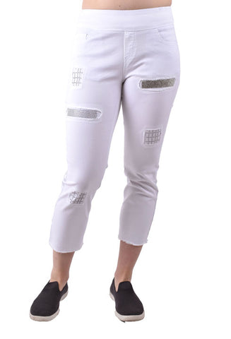 ETHYL -WHITE PANT WITH BLING/ LACE PATCHES