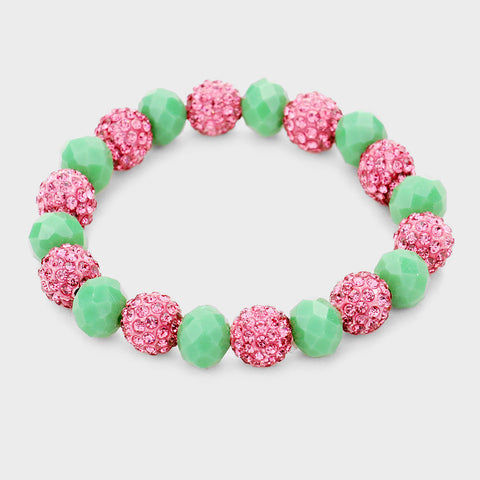 SHAMBALLA BALL FACETED BEAD STRETCH BRACELET