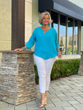 SEA BLUE V-NECK GAUZE TOP