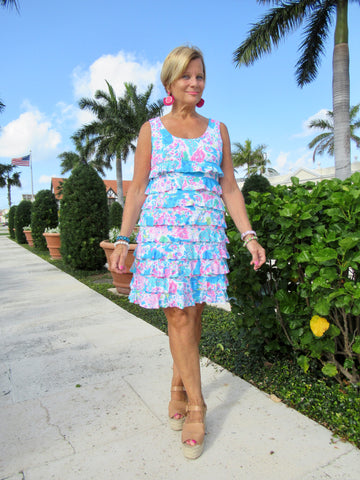 PALM BEACH LAYERED RUFFLE DRESS