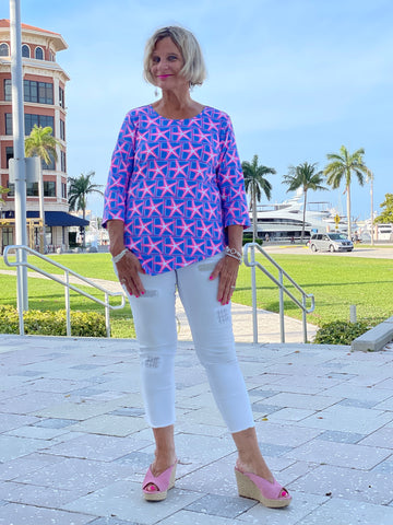 PINK STARFISH BEACH ASYMMETRIC TOP