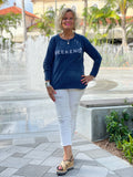 CHENILLE BEACH TIME NAVY CREW SWEATER