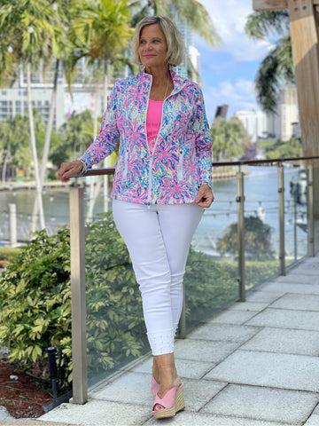 PINK PALM TREE ZIPPER JACKET