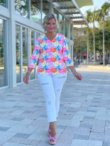 PALM BEACH FLOWER V NECK TOP