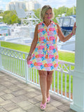 PALM BEACH GARDEN COLLAR BUTTON DRESS