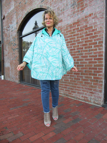 REVERSIBLE MINT FLORAL PONCHO
